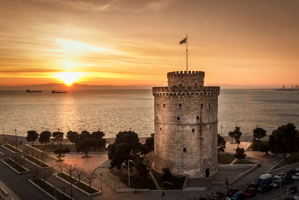 Sunset with White Tower of Thessaloniki